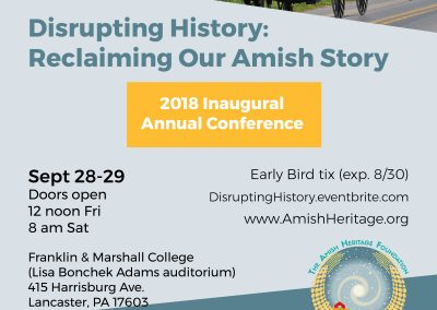 2018 Conference Flyer -The Amish Heritage Foundation
